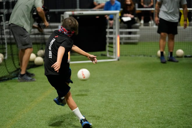 A young player at TOCA Football Nashville-Franklin trains with the help of the company's proprietary technology in Franklin, Tenn on Sept. 11, 2021.