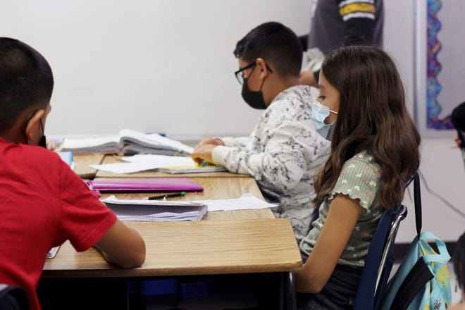 Sixth-grade students do classwork at Mesquite Elementary School on Friday, Sept. 24, 2021.