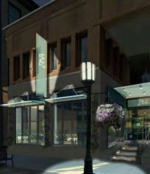 An outdoor rendering of what Zana will look like at night. Zana is the newest proposed restaurant in downtown Birmingham, which plans to open in the former Vinotecca space along Old Woodward.