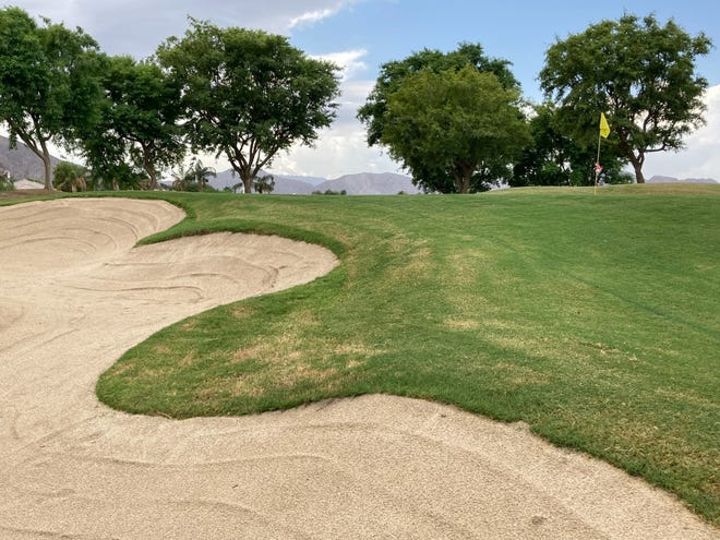 The first steps in renovations of the course at Mountain View Country Club in La Quinta is renovating bunkers, like this one on the par-3 17th hole.