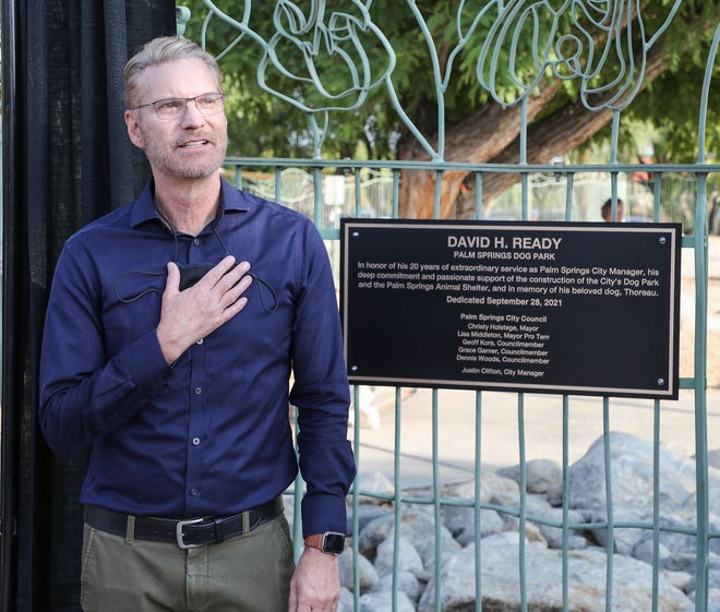 David Ready speaks during the renaming of Palm Springs Dog Park in his honor, September 28, 2021.