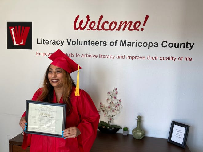 Sharda Ramdin is among the estimated 700 people serve each year by the Literacy Volunteers of Maricopa County.