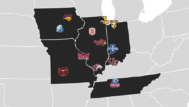 A map of the teams of the Missouri Valley Conference after Belmont announced it was joining the league.