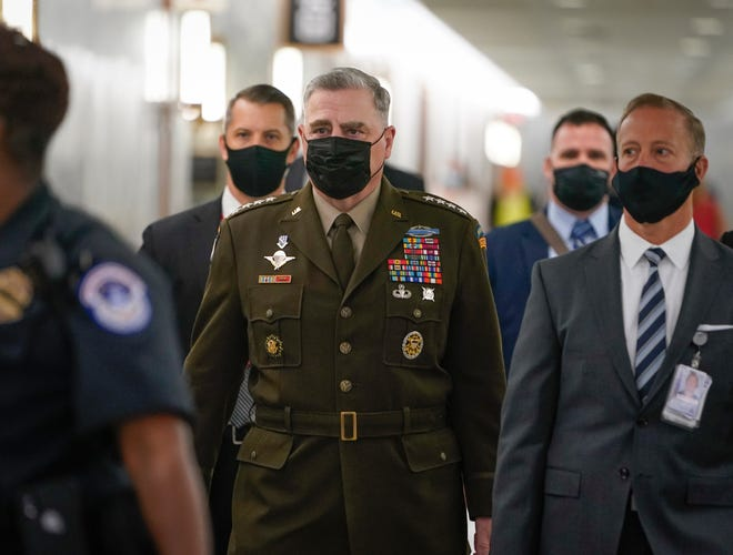 Chairman of the Joint Chiefs of Staff Gen. Mark Milley arrives to testify on military operations in Afghanistan and future plans for counterterrorism operations before the Senate Armed Services Committee on Sept. 28, 2021.
