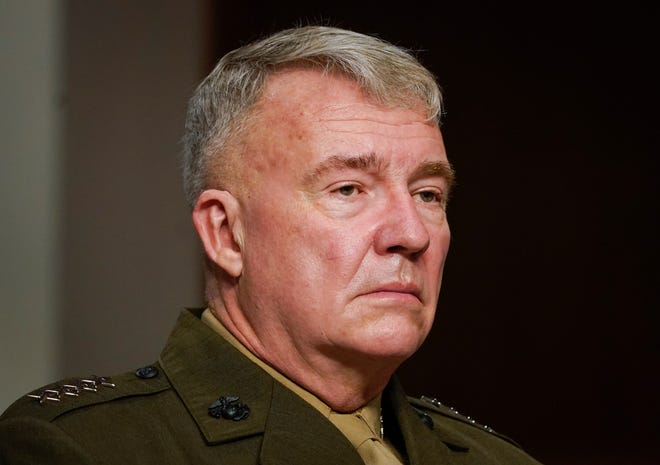 U.S. Central Command leader Gen. Kenneth McKenzie testifies on military operations in Afghanistan and future plans for counterterrorism operations before the Senate Armed Services Committee on Sept. 28, 2021.