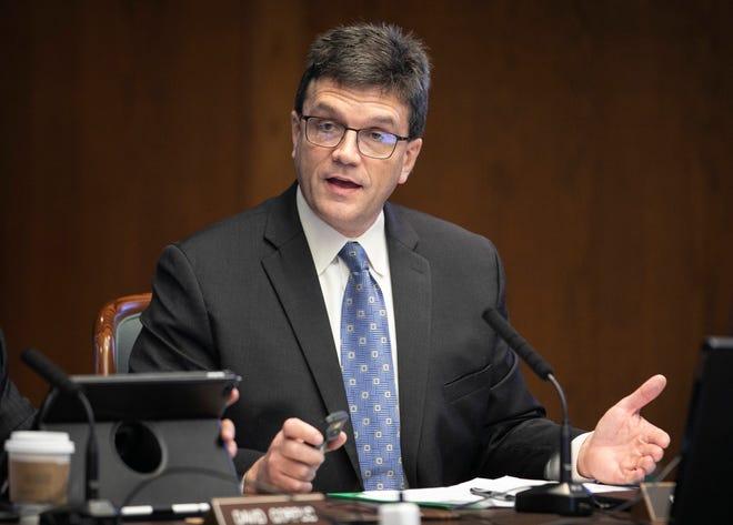 Brian Guthrie, executive director of the Texas Teacher Retirement System, testifies at the Texas Legislature on Feb. 20, 2020.