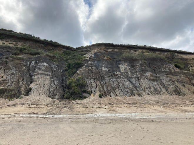 Dramatic cliffs, somewhere north of Longnook Beach in Truro. ERIC WILLIAMS/CAPE COD TIMES