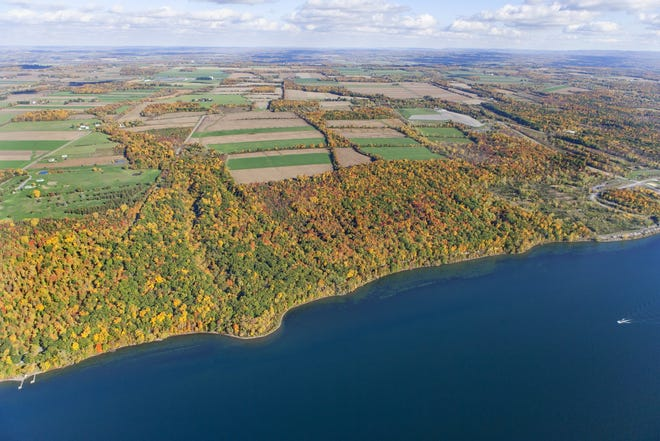 This month's auction to sell NYSEG's Bell Station has been cancelled as the Finger Lakes Land Trust pursues acquisition of the 470-acre property. Located on the eastern shore of Cayuga Lake, it is the largest remaining stretch of unprotected private shoreline in the Finger Lakes.