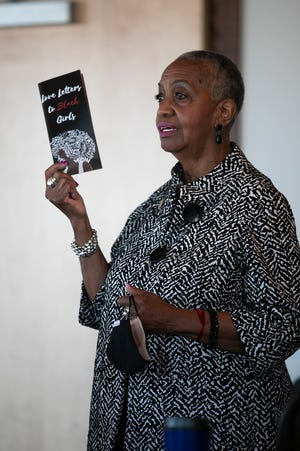 """fran frazier, founder of Black Girl Rising, presents the book """"Love Letters to Black Girls"""" on Wednesday."""