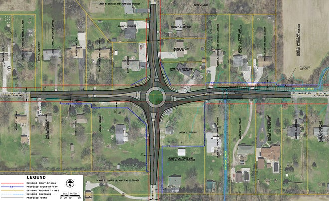 This is the design for a proposed roundabout at Morse and Babbitt roads in Plain Township. The Franklin County Engineer's Office will spend an estimated $3.7 million on the project, which includes other work. Construction is expected to start in June 2022.