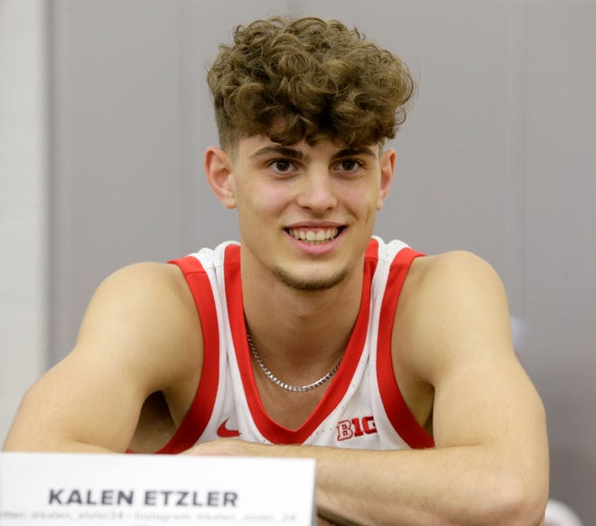 Kalen Etzler (24) takes questions from reporters during media day for the Ohio State men's basketball team at Value City Arena in Columbus on Tuesday, September 28, 2021.