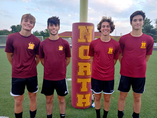 North midfielders Eric Vargo (left), Carlo Ceckitti, Nick Tener and Drew Cooper have been key to the Warriors' strong play this season. Coach Nate Hartnell and his staff adjusted the team's scheme earlier this season to emphasize the seniors' talents.