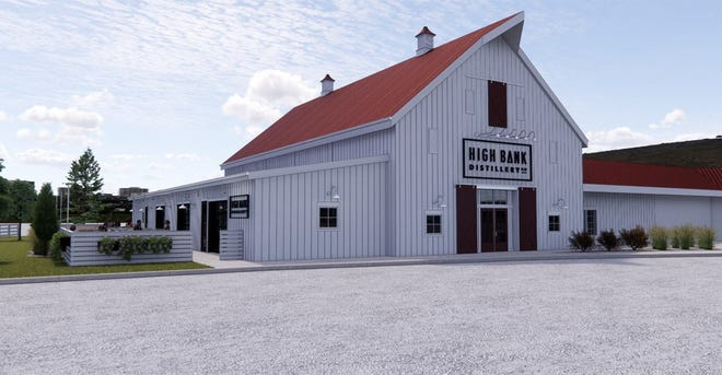 This illustration shows the planned exterior of a High Bank Distillery that is expected to open at 1379 E. Johnstown Road in Gahanna in spring 2022.