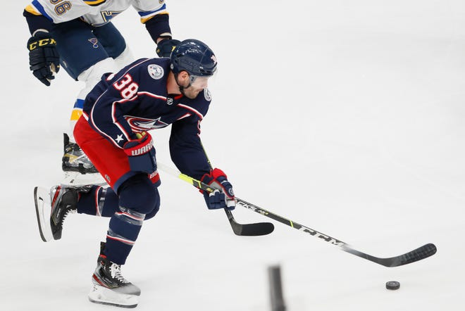 Columbus Blue Jackets center Boone Jenner (38) races up ice on his way to scoring an unassisted goal during the first period of the NHL preseason hockey game against the St. Louis Blues at Nationwide Arena in Columbus on Wednesday, Sept. 29, 2021.
