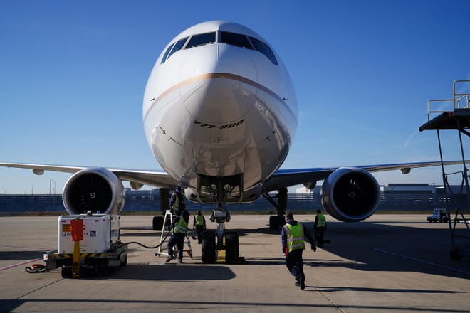 A Boeing 777-300 at the United Airlines cargo facility at O'Hare International Airport. Nearly 600 United workers are losing their jobs after refusing to get vaccinated.