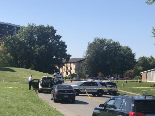 Crime scene tape closed off a wide area of the 2400 block of Kimberly Drive Wednesday morning at The Flats at Kimberly apartment complex near Eastland on the Southeast Side after Columbus police officer Andrew Hawkins fatally shot Kyle Veyon, of North Linden, as he wielded a butcher-style knife during a domestic dispute.