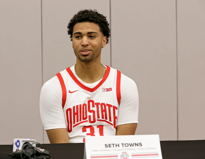 Seth Towns (31) takes questions from reporters during media day for the Ohio State men's basketball team at Value City Arena in Columbus on Tuesday, September 28, 2021.