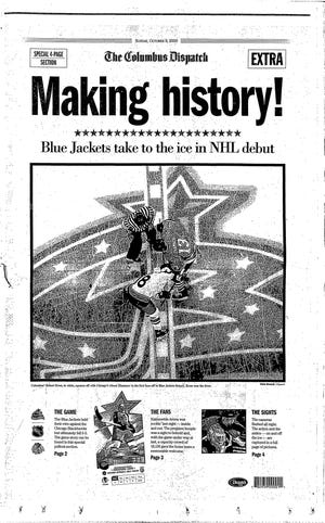 Front page of the special section as the Blue Jackets made their regular season debut at Nationwide Arena, October 7, 2000.
