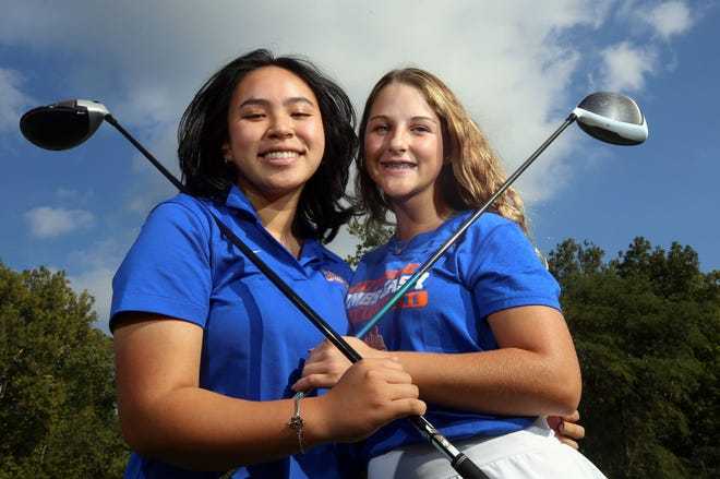 """Senior Natalie Au and freshman Skylar Dean have led Orange this season, but they have different styles. Coach Todd Helline said """"Skylar's a very cerebral player"""" while """"Natalie is a free spirit."""" Dean was medalist for the OCC-Buckeye Division, and Au also was first-team all-league."""
