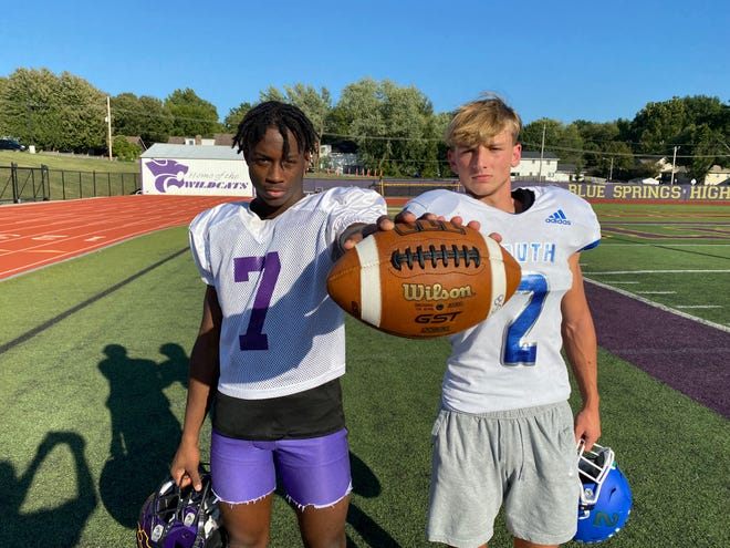 Blue Springs South defensive back and receiver Alex Israelite, right, looks to change his and the Jaguars seniors' luck against Blue Springs receiver and defensive back Dalesean Staley and the Wildcats when they face off in the Cat Clash rivalry game on Oct. 15 at Peve Stadium. Israelite has never earned a win against the Wildcats, who have won the last seven, including the first three years of their high school careers.
