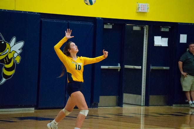 Hillsdale Hornet Megan Rufenacht (#10) had 5 kills, 3 digs, and two aces against Ida on Tuesday.