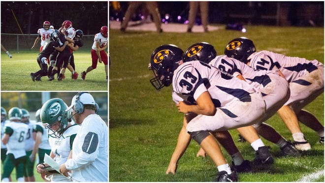 (Pictured) Top Left: Waldron's Defense, Bottom Left: North Adams-Jerome's quarterback Max Thielen, Center Right: Hillsdale's trio of running backs including Peter Moore (33), Stephen Petersen (14) and Jordan Barnes (21).
