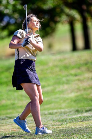 Tess Sheerman, Marceline High School junior, won the Lewis and Clark Conference Championships individual title Tuesday, Sept. 28. Seen watching a tee shot during her play in the Sept. 23 Chillicothe Invitational, Sheerman blew away the field with a round of 78, topping the runnerup by 18  strokes.