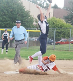 La Junta High School's Hunter Wallace (6) successfully steals second in the Tigers' game against James Irwin on Sept. 28. Wallace went 3-4 with four RBIs in the Tigers' 10-4 win.