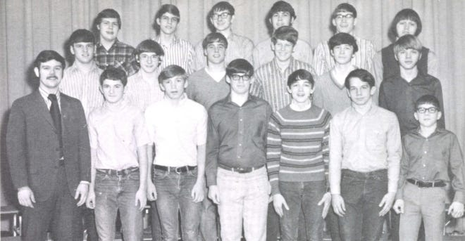 Pictures of the Past is from the 1971 Lincoln Community High School yearbook. Shown are members of the Key Club. In front from left: Mr. Baldwin, advisor, R. Jones, P. Hanley,K. Amos, T. Buche, and B. Check. Second row: D. Berg, R. Ingram, B. Schraer, B. Bates, K. Edelherr and H. Balfanz. Third row: T. Weimer, J. B. Shockey, T. Baldwin, D. Muck, J. Edwards and B. Maxey. The Key Club is a service club that helped the school and the community. Some of the projects for that year were canvassing for the Cancer Drive, collecting money for the Salvation Army and selling peanuts for the Kiwanis Club. One of the years highlights was sponsoring a Christmas party at the Lincoln State School.