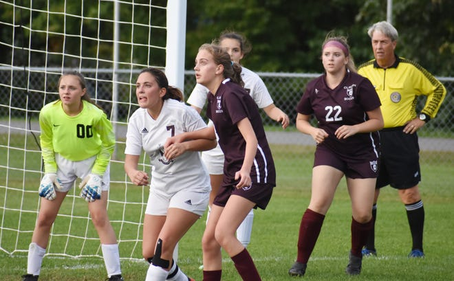 Sherburne-Earlville and Clinton players await a corner kick in the first half on Wednesday, Sept. 30, 201.