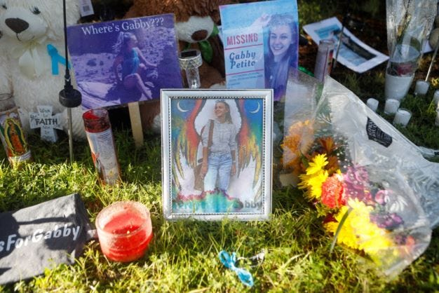 A makeshift memorial dedicated to missing woman Gabby Petito is located Sept. 20 near City Hall in North Port, Florida. (TNS)