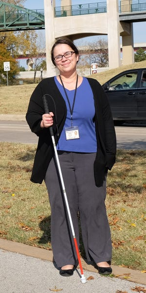 Samantha Reeves is a Services for the Blind and Visually Impaired client who is a white cane user. She has been employed by the DRS Vocational Rehabilitation division as a rehabilitation technician since January 2019.