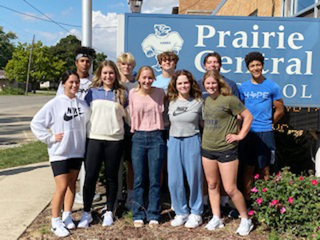 The Homecoming Court for 2021 at Prairie Central High School has been named with only the king and queen waiting to be formally announced. The seniors who are vying for king and queen are, in the top photo in front from left, Ayva Alvarenga, Melanie Cerda, Cheyanne Bazzell, Whitney Hetherington and Clare Strong. In back are Isaiah Adams, Cody Dohman, Daniel Hawkins, Anderson Krenz and Thomas Zimmerman.