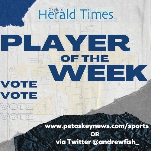 Vote for the Gaylord Herald Times Player of the Week for 9/22-9/29 on petoskeynews.com/sports or by following andrewfish_ on Twitter.