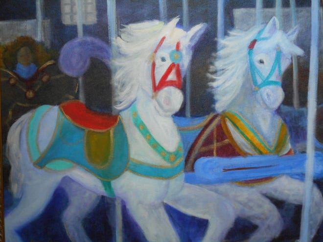 """""""Carousel Horses,"""" an oil painting by Barbara Barclay."""