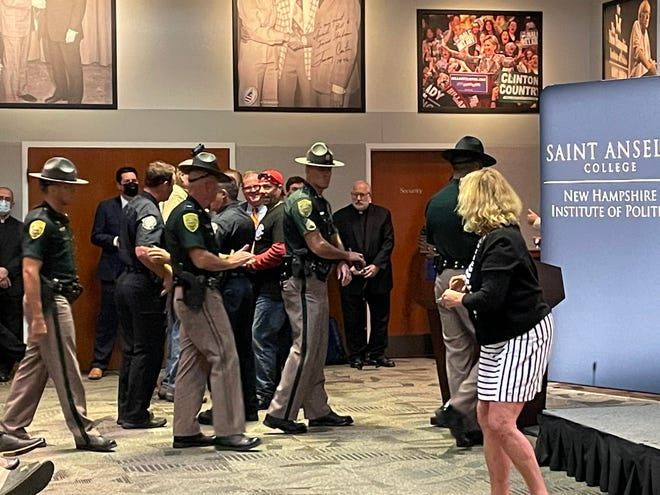 The scene from the New Hampshire Executive Council meeting meeting Wednesday, Sept. 29, 2021, before it was canceled due to the actions of protesters.