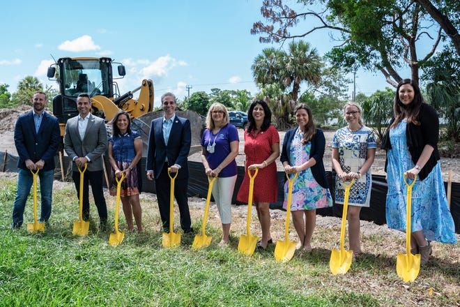 Representatives from the Boca Raton City Council, the Junior League of Boca Raton and Brightline break  ground on the new community garden at Meadows Park, 1300 NW 8th St, Boca Raton, on May 10, 2021,