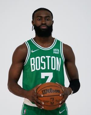 Celtics guard Jaylen Brown poses during Celtics Media Day on Monday.