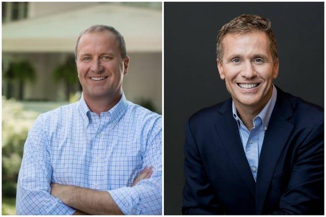 Missouri Senate hopefuls Eric Schmitt, left, and Eric Greitens (campaign photos).