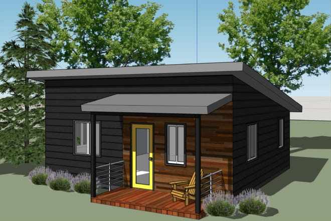 Concept art of one of two pre-approved accessory dwelling unit designs now available from the city of Eugene.
