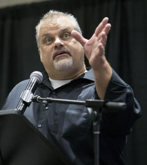 Court records show that Winnebago County Coroner Bill Hintz was struggling financially even as he first campaigned for the office in 2016. In this file photo, Hintz speaks at a Winnebago County Republican Central Committee election watch party at Giovanni's Restaurant and Convention Center in Rockford.