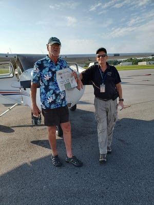 Terry Allan celebrated with an Introductory Flight in a Cessna 172 with Instructor Pilot Gene Melton. Beautiful morning, light clouds, great friendship and priceless memories.