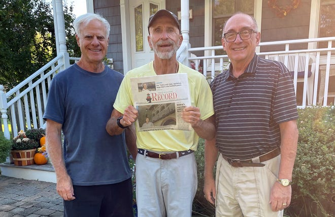 Three best buddies. who graduated high school together 53 years ago, met in Greenport on the North Fork of Long Island, NY, for its annual Maritime Festival. Pictured, from left, are John Solomita, Lake Jovita, Florida, Bob Zimardo, Greenport, NY, and Ed Albanesi, St. Augustine.