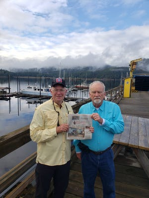 Jim Davis, from the King and Bear, and Aage Schroder, from Murabella, went salmon fishing in Thorne Bay, Prince of Wales Island, Alaska. The photo is of the marina in Thorne Bay, a town of  475 people and accessible only by ferry (four hours from Ketchican) or floatplane. The fishing was great!