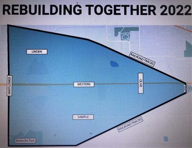 This map shows the work boundaries in South Bend for Rebuilding Together St. Joseph County in April 2022.
