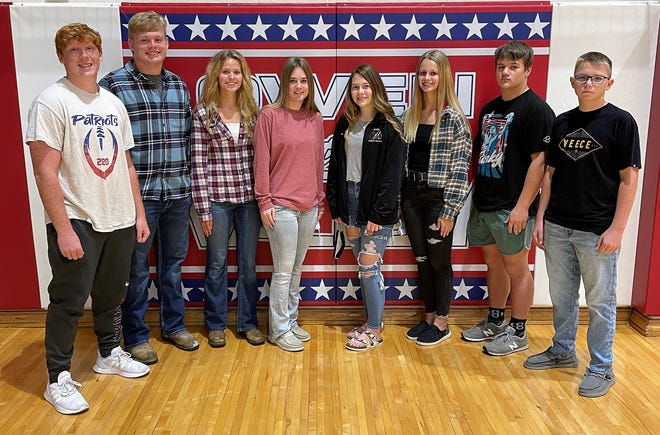 The sophomore and junior prince and princess candidates include, from left: Kyler Walker (11), Bryce Mills (11), Rebecca Brown (11), Hannah Riggs (11), Alyssa Little (10), Brailen Morries(10), Kyvin Bandy (10) and Branson Leonard (10).