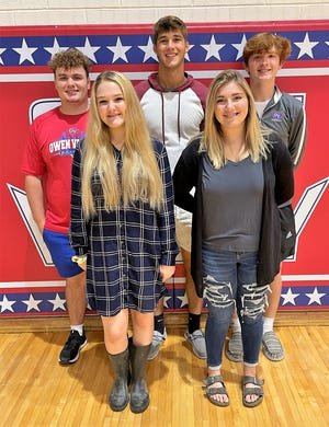 Senior King and Queen candidates include, front row, from left: Abby Miller and Kloee Wood. Back row: Eli Miller, Nathan Goss and Isaac Carpenter. Not pictured: Jayna Hansen.