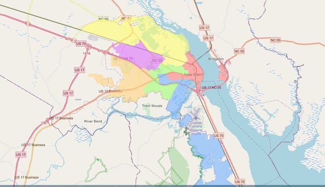 Current staff proposal for new ward boundaries in New Bern.