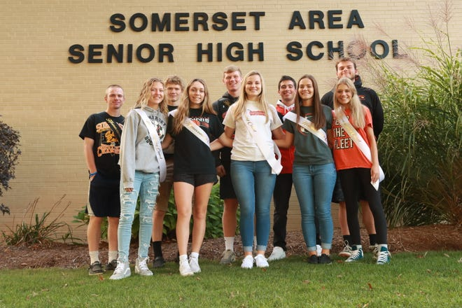 Somerset is to celebrate homecoming at halftime Friday night, as the Golden Eagles host Bishop McCort. Members of the Somerset Area School District homecoming court are, from left: (front row) Ella Wheeler, Alexia Powers, Haley Basala, McKenna Shaffer and Abby Oliver; and (back row) Caleb Antram, Ethan Hemminger, Will Reeping, Bryce Mulhollen and Donavan Vogt. Festivities are to begin with a parade at 6 p.m. The route begins at the high school, goes down Franklin Avenue, up Patriot Street and continues down Franklin Avenue.