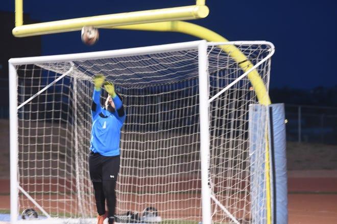 Centennial High School senior goalie Aidan Martinez makes a save against Pueblo West on Tuesday, September 28, 2021 at Cyclones  Stadium against Pueblo West. [Chieftain photo/Jeff Letofsky]